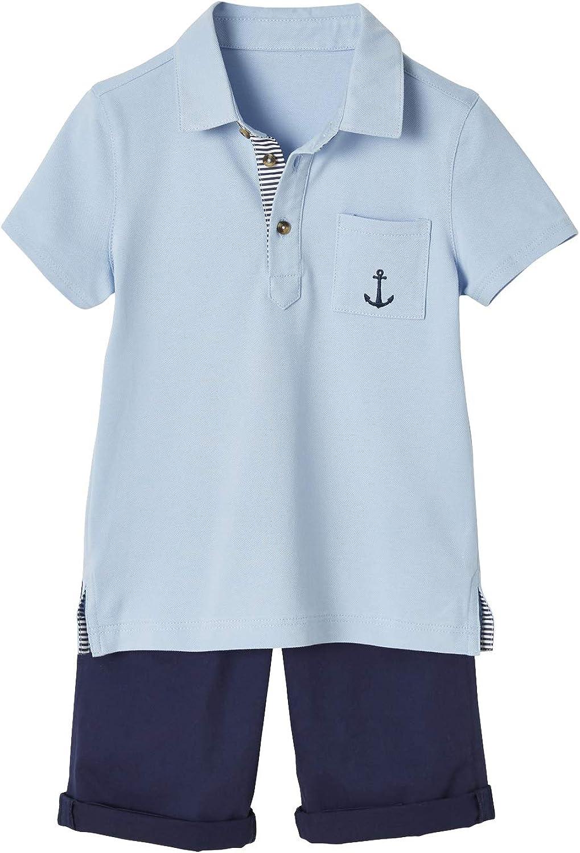 VERTBAUDET Conjunto de Polo y Bermudas para niño Azul Claro Liso ...