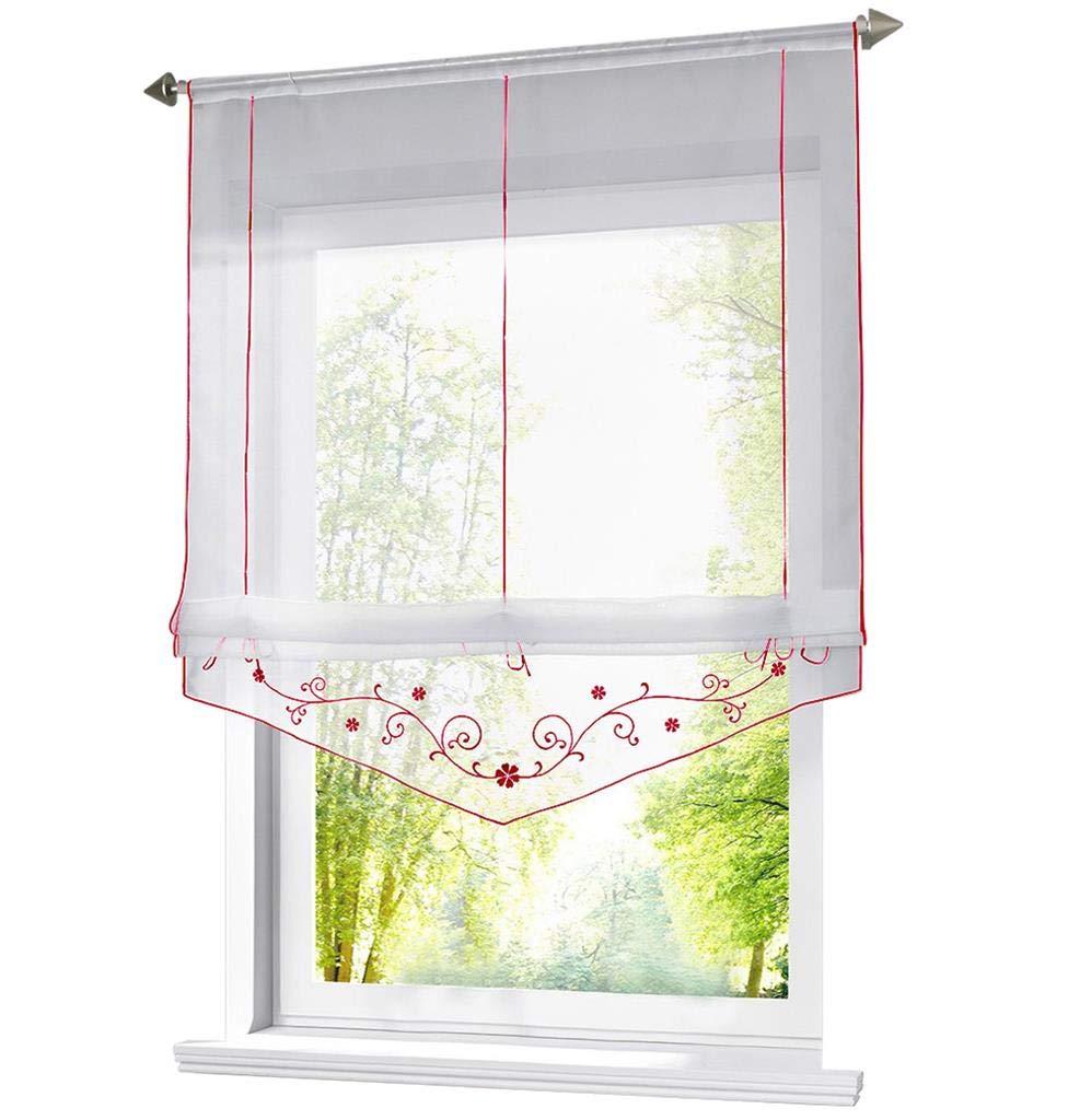 86 York Embroidered Lifting Window Roman Curtain 1 Panel