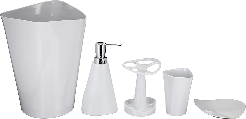 Amazon Basics 5 Piece Bathroom Accessories Set Smooth White Home Kitchen Amazon Com