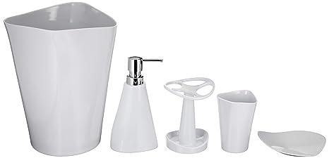 Amazon.com: AmazonBasics Juego de accesorios de baño de 5 ...