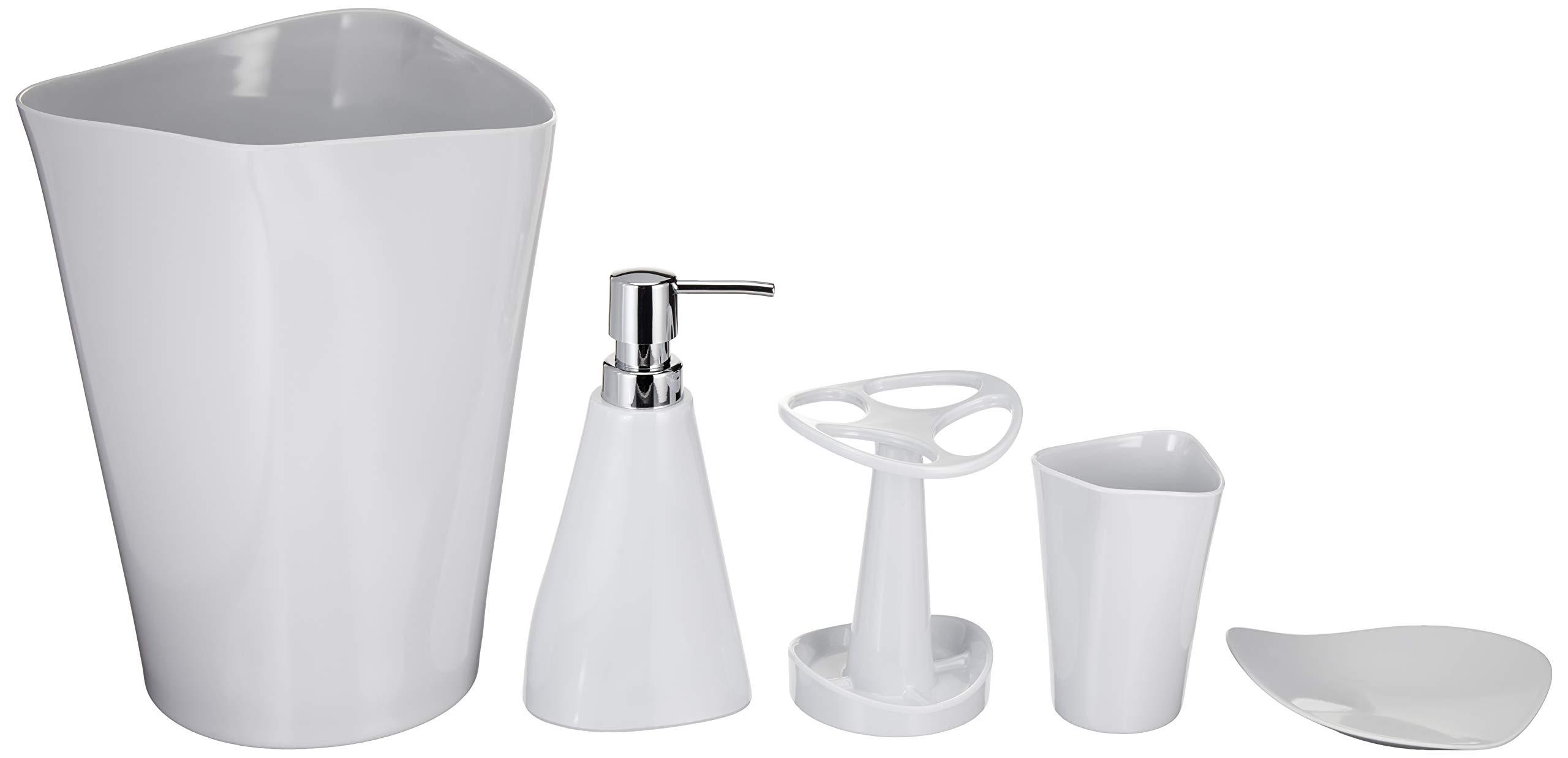 AmazonBasics 5-Piece Bathroom Accessories Set, Smooth White