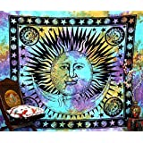 Handicrunch Psychedelic Celestial Indian Sun Hippie Hippy Tapestry Wall Hanging Throw Tie Dye Hippie Hippy Boho Bohemian Tye Die Hand-loomed Window Doorway Door Curtain