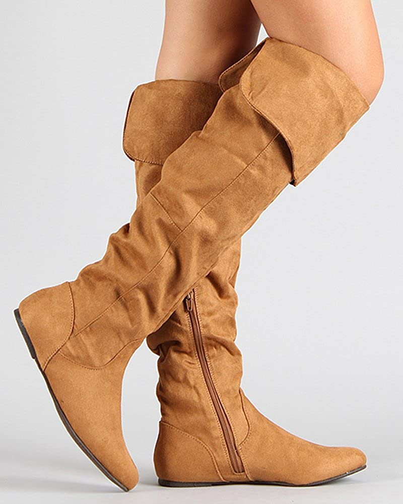 Adult Suede Thigh-High Fold Down Cuffs Almond Toe Camel Lady Pirate Boots - DeluxeAdultCostumes.com