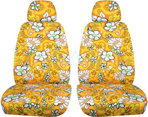 Hawaiian Print Car Seat Covers w 2 Separate Headrest Covers: Yellow w Flowers - Semi-Custom Fit - Front - Will Make Fit Any Car/Truck/Van/SUV (6 - Seat Print Car