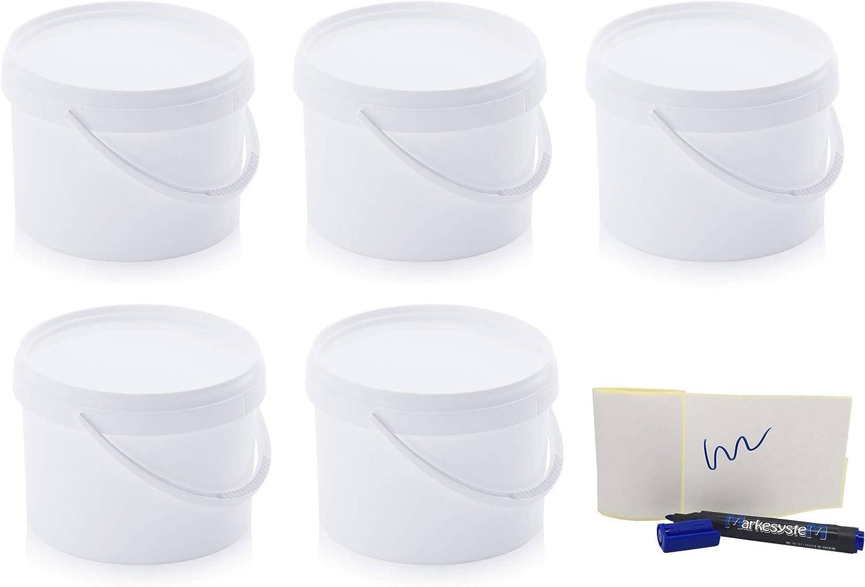 MARKESYSTEM - Cubo HERMÉTICO Catering - Pack de 5 X 4,4 litros - Cubos de Plástico con Tapa - Contenedores Apilables - Envasar Alimentos, Líquidos y Pinturas - Polipropileno Blanco + Kit Etiquetado