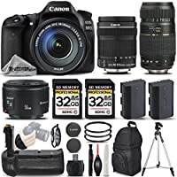 Canon EOS 80D Wi-Fi Full HD 1080P Digital SLR Camera + Canon 18-135mm IS STM Lens + Canon 50mm 1.8 II Lens + Tamron 70-300mm Lens. All Original Accessories Included - International Version