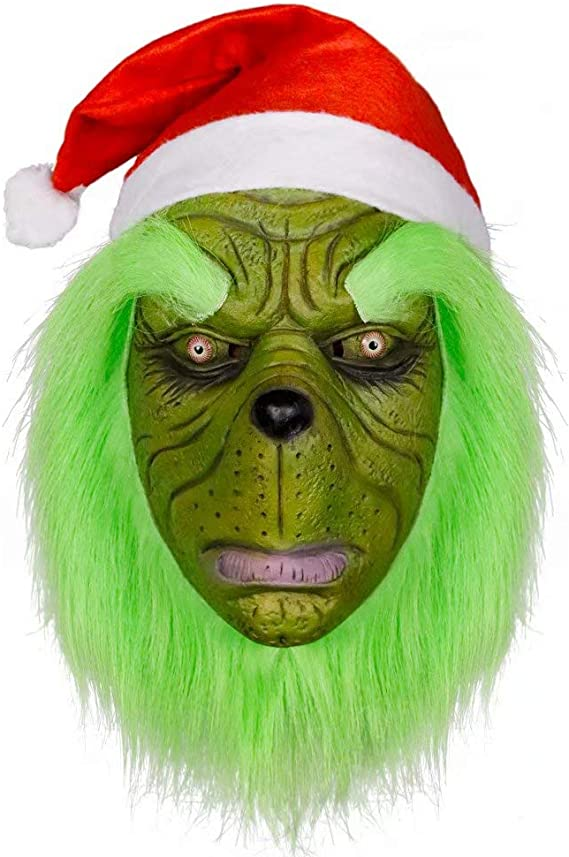 Amatop Disfraz de Grinch, Cosplay Dr. Seuss Christmas Grinch Mask ...