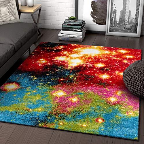 Galaxy Lights Multi Red Yellow Orange Stars Lines Modern Geometric Abstract 8x10 ( 7'10