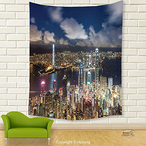 Vipsung House Decor Tapestry_Fabric Night View Hong Kong Victoria Harbor Business Financial District Cityscape Print Decores Multi Color_Wall Hanging For Bedroom Living Room (Financial District Halloween)