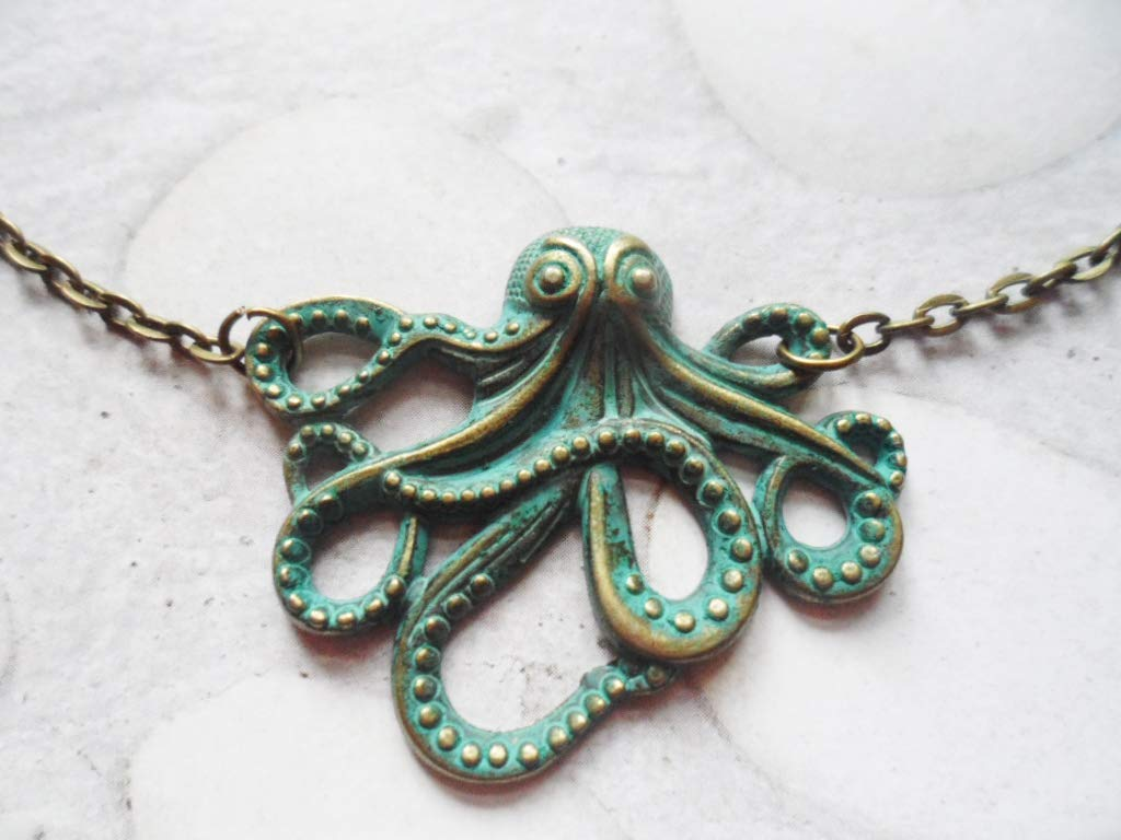 Brass patina octopus necklace Selma Dreams accessories nature jewelry vintage inspired gifts