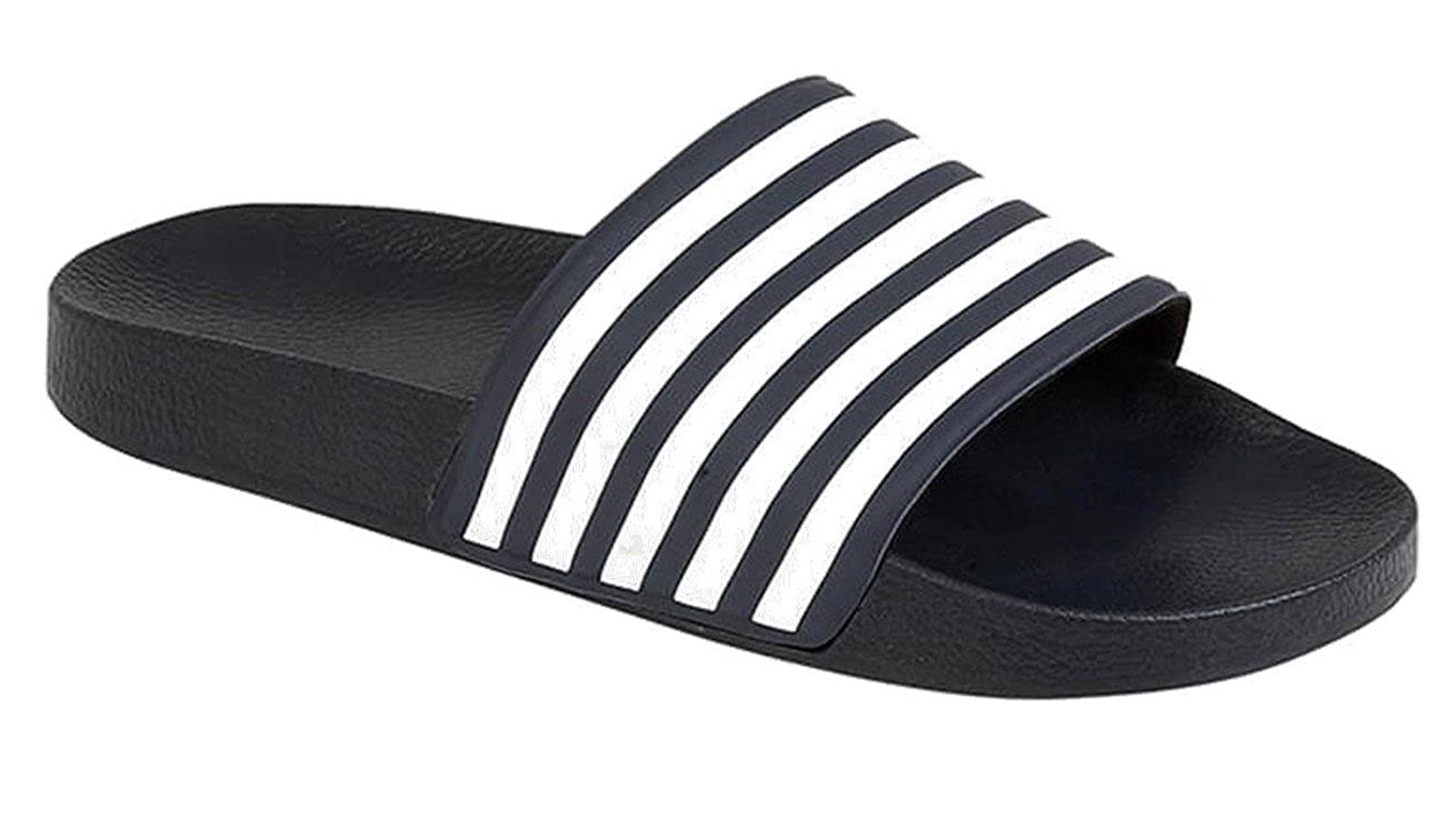 b909996a91e8 SHU CRAZY Mens Beach Pool Sliders Flip Flops Slip on Mules Shower Sandals  Striped Shoes  Amazon.co.uk  Shoes   Bags