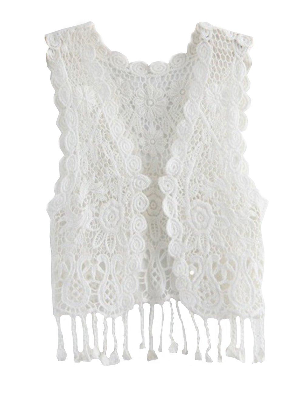 ZHUANNIAN Little Girl's Crochet Vest with Fringe White