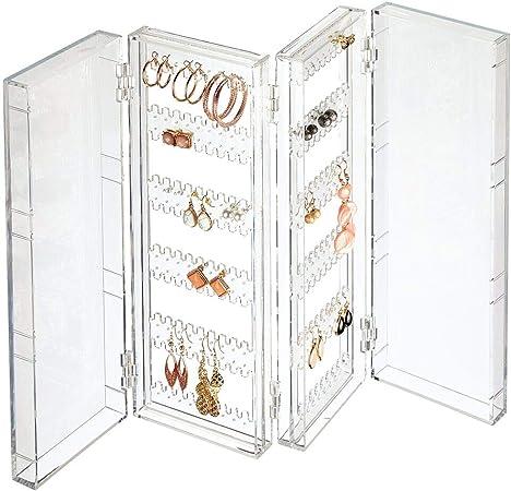 mDesign Organizador de Pendientes Plegable para la cómoda, el Lavabo o el tocador – Caja Plegable Porta Joyas para Pendientes de Todo Tipo – Colgador de Pendientes Compacto de plástico – Transparente:
