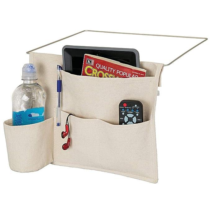 t/él/écommande sac de rangement pratique pour la bouteille deau montre ou autres mDesign sac de chevet /à accrocher tablette beige poche de lit spacieuse en coton avec 3 poches