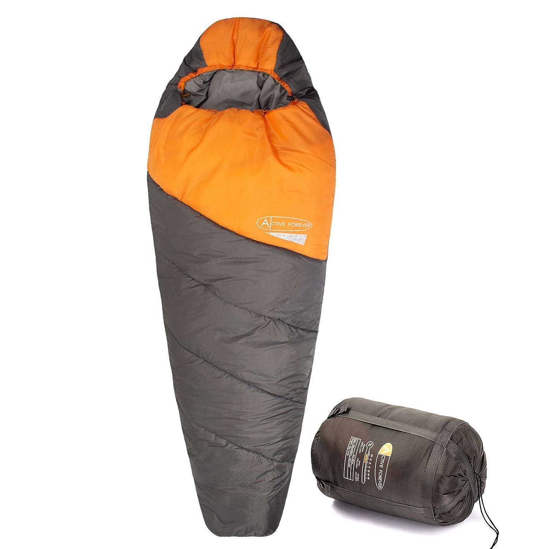 210 * 80 * 55cm Active Forever 210T Polyester Premium Twill Momie L/éger Sac de Couchage Le Tourisme et Les activit/és de Plein air en Hiver Id/éal pour Le Camping la randonn/ée Orange