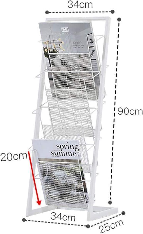 LXF Soporte de exhibición A4 Canal de Entrada, Estante para revistas, de Hierro Forjado, pie de periódico Independiente, Cesta para Estante Soporte de exhibición del prospecto (Color : White)