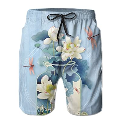 ZAPAGE Mens Lotus Painting Quick Dry Lightweight Boardshorts Printed Swimwear Board Shorts with Pocket