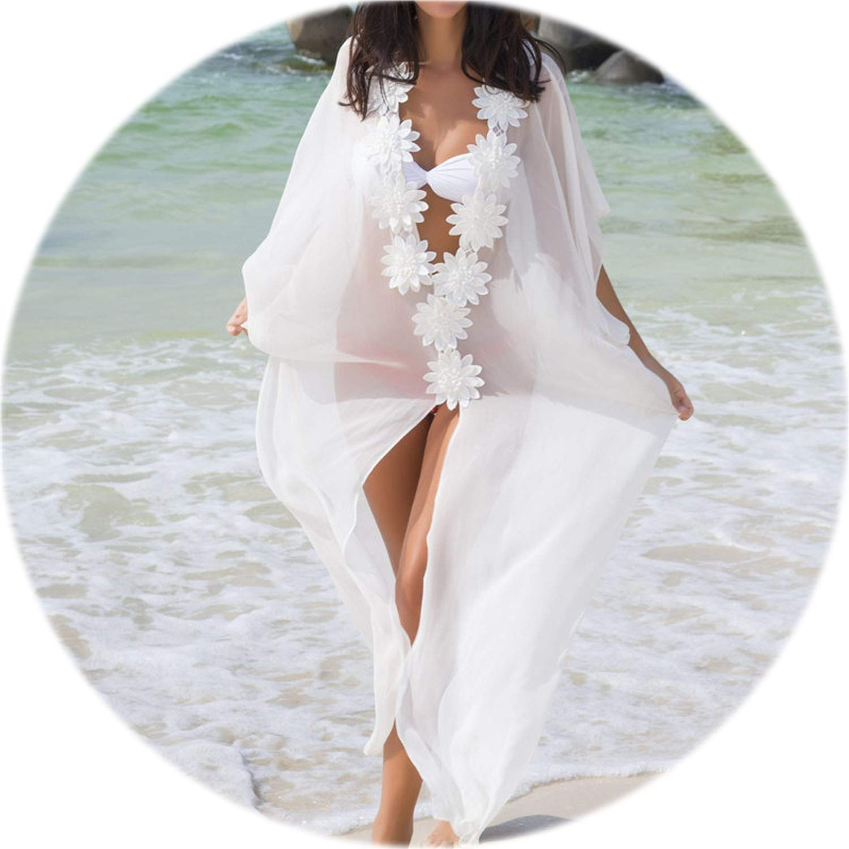 Beach Cover up Dress Lace Beach Tunic Pareos Swimwear Women Bikini Cover up Chiffon Swimsuit Cover up
