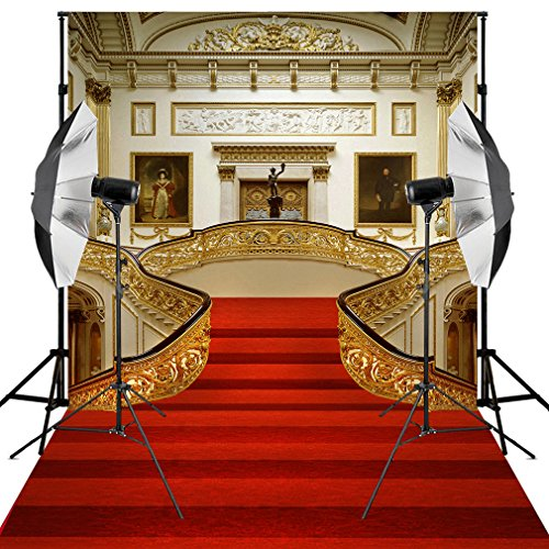 Kooer 6X9ft Red Carpet Backdrop Wedding Golden Hall Party Palace Events Room Mural Background for Photography Stairs Living Room Photo Studio Props]()