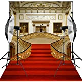 Kooer 6X9ft Red Carpet Backdrop Wedding Golden Hall Party Palace Events Room Mural Background for Photography Stairs Living Room Photo Studio Props