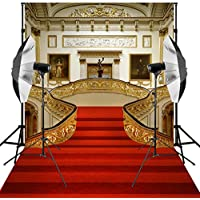 Kooer 6X9ft Red Carpet Wedding Background for Photography Backdrops Stairs Living Room Photo Backdrop