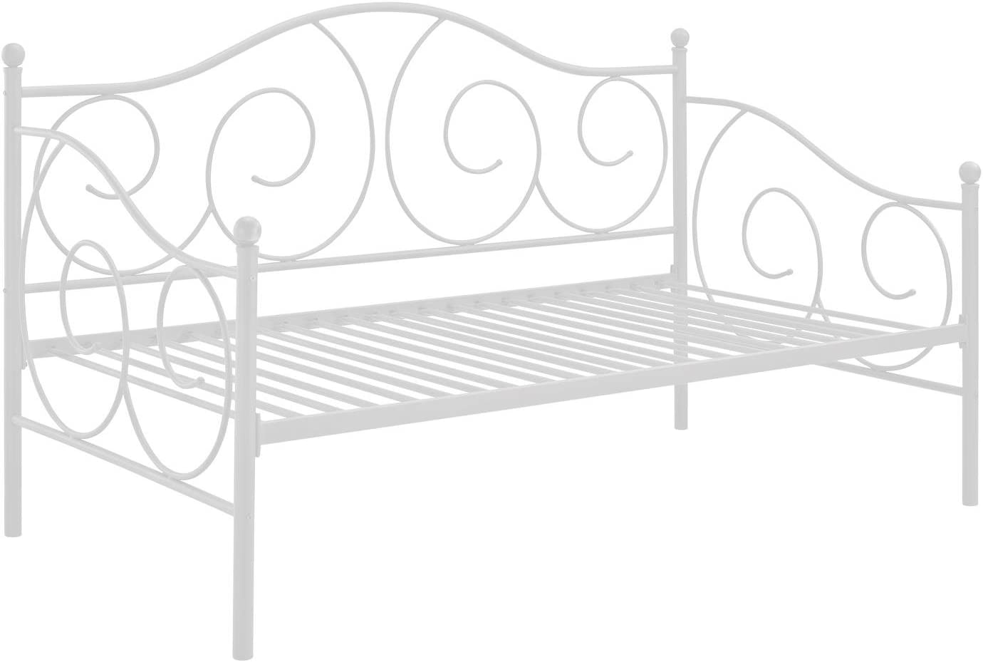 DHP Victoria Daybed, Twin Size Metal Frame, Multi-functional Furniture, White