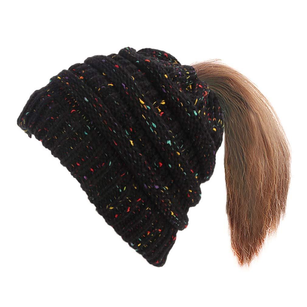 Gudelaa Cappello da donna in maglia a coda di cavallo Beanie Hat ... 2e411ff86afe