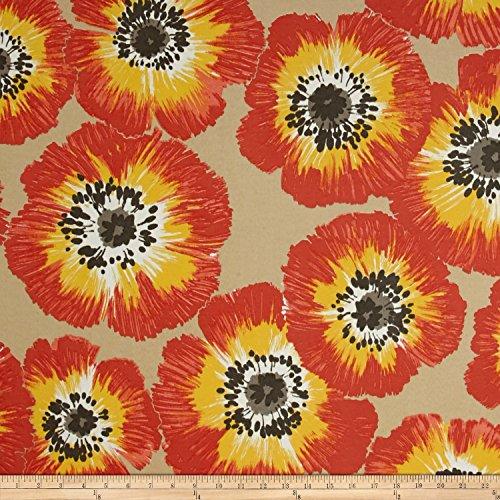 Sunshine Poppies - P Kaufmann Outdoor Poppy Patch Fabric, Sunshine