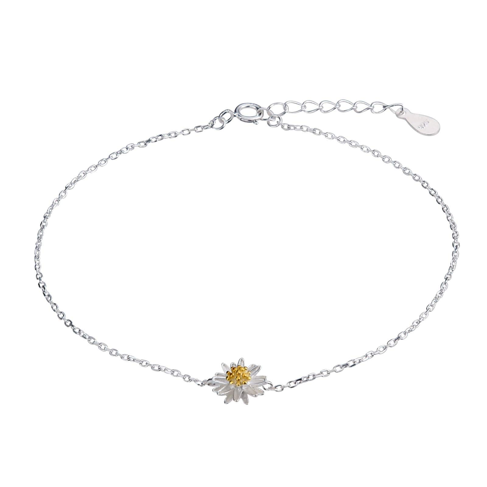 Beydodo 925 Sterling Silver Ankle Bracelet for Girls Foot Jewelry Anklet for Women Daisies