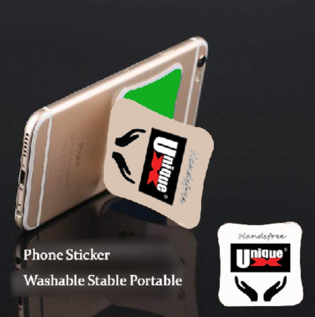 UniqueX Phone Sticker Back Easy Sticky Pad for Hold and Stand (White)