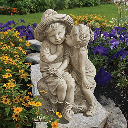 Design Toscano Kissing Kids Boy and Girl Garden Decor Statue, 14 Inch, Polyresin, Antique Stone