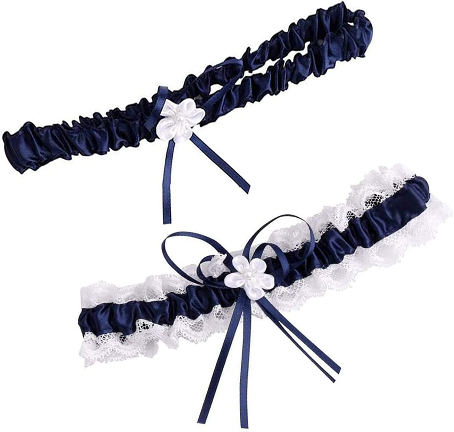 Garters for Bride, Lace Wedding Bridal Garters with Toss Away - Set of 2 with Satin Bow. One for Keeps and one for Garter Throw - Women Wedding Bridal Legs Garter Set