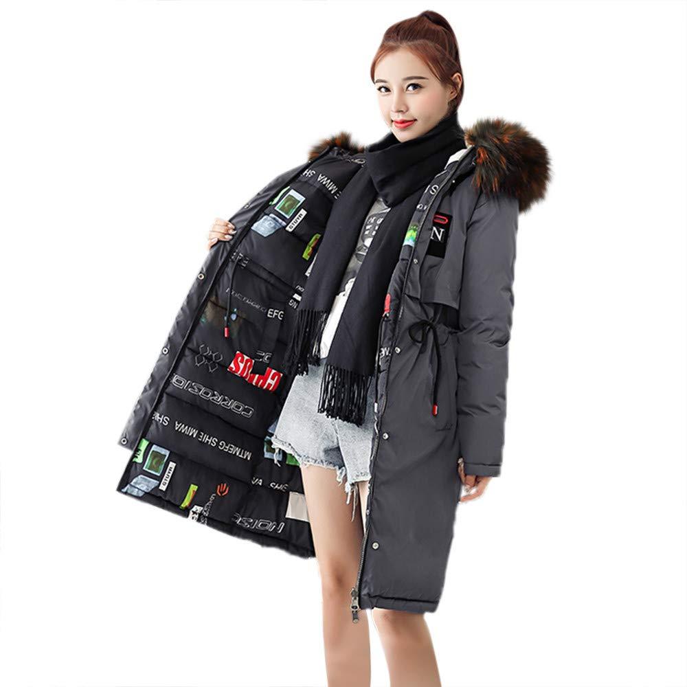 GREFER New Women Ladies Slim Hooded Down Padded Long Winter Warm Parka Outwear Jacket Coat (XL, P-Gary) by GREFER