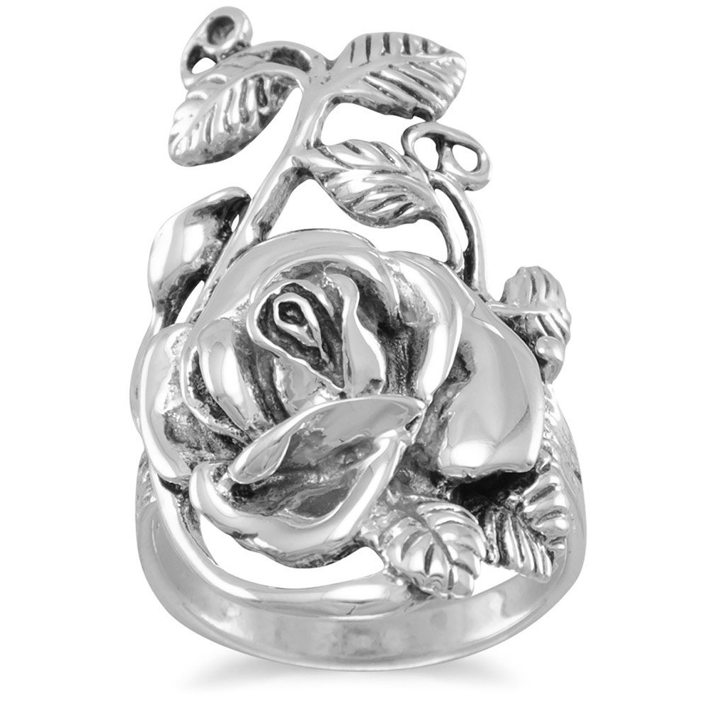 Anneau en argent sterling oxydé Rose Tige Motif feuille Mesure 18.5mm x 32mm–Taille T 1/2 JewelryWeb AIR357261SS