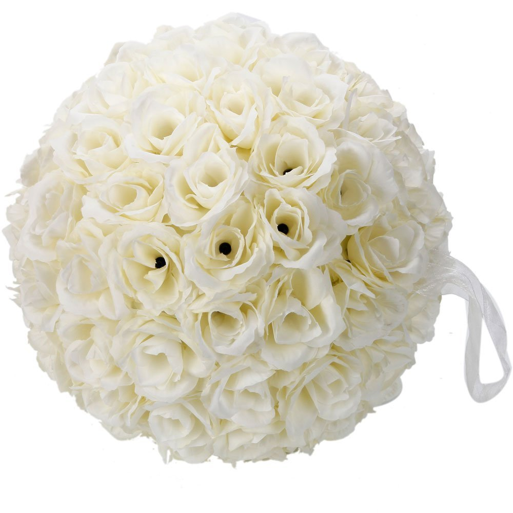 Leadzm 10 Inch Artificial Romantic Rose Flower Ball for Home Outdoor Wedding Party Centerpieces Decorations (2PIECE, Ivory White)