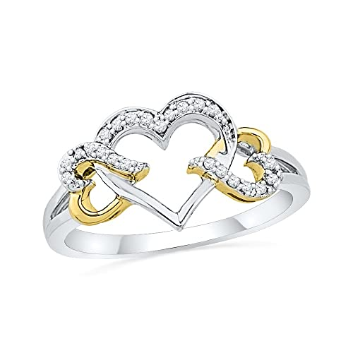 D-GOLD Sterling Silver White with Yellow Plated Round Diamond Triple Heart Ring 1 10 cttw