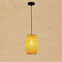 GRFH natural Originality Rattan pendant light Coffee shop Originality Restaurant Lantern handmade straw woven rattan pendant lamp personality Rattan Chandelier , yellow