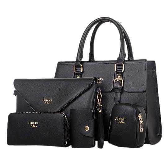 HooH Mujer Bolso 5 piezas Shoppers y bolsos de hombro Carteras de mano Monedero conjunto Azul: Amazon.es: Zapatos y complementos