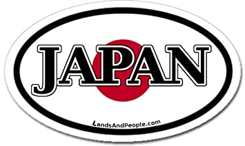 Japan And Japanese Flag Car Bumper Sticker Decal Oval