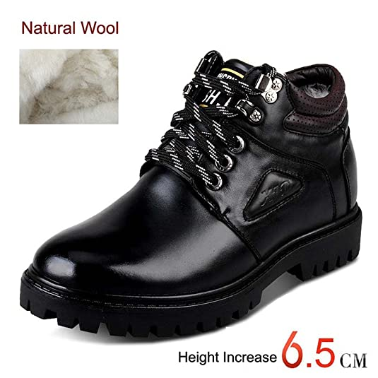2.56 Inches Taller Men's Height Increasing Elevator Keep Warm Snow Boots Lace Up