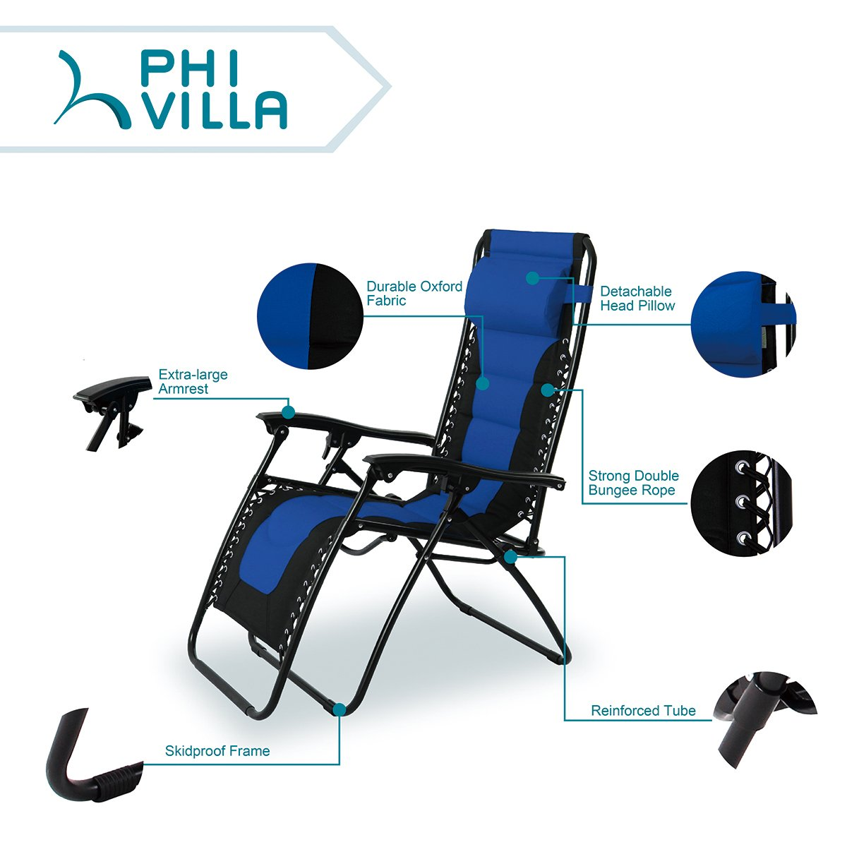 PHI VILLA Padded Zero Gravity Patio Lounge Chairs Adjustable Reclining with Cup Holders, 2 Pack Blue