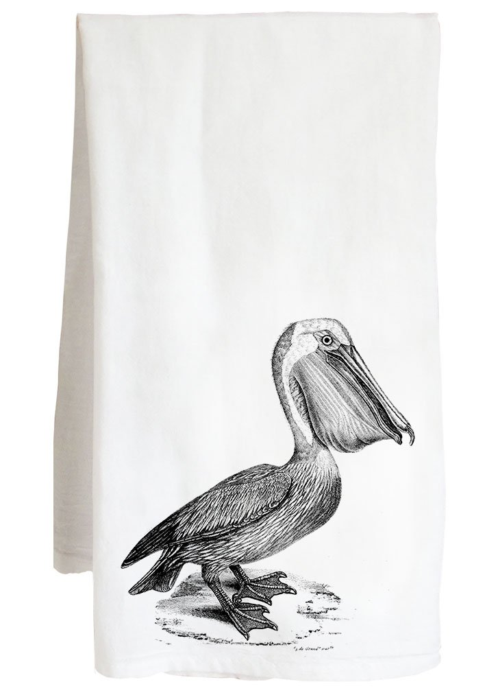 Live Nice PELICAN VINTAGE ANIMAL - beach animal bird - Farm Flour Sack Kitchen Tea Towel