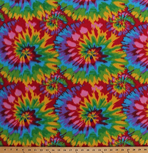 Tie Tye Dye Starburst Fleece Fabric Print by the Yard otyedyebrightq