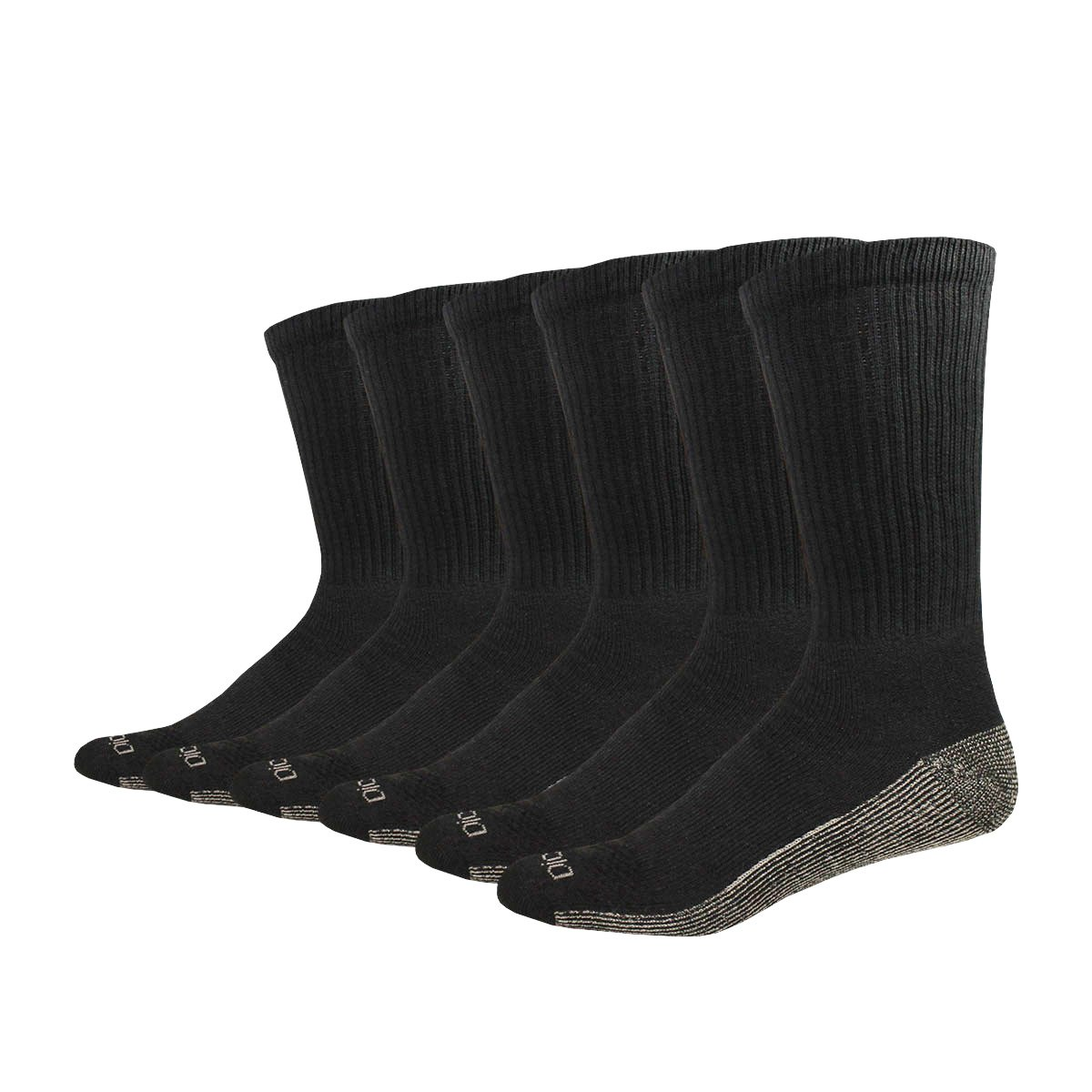 Dickies Men's Multi-Pack Dri-Tech Moisture Control Crew Socks, Black 6 Pack 6 Pack, Sock Size: 10-13/Shoe Size: 6-12