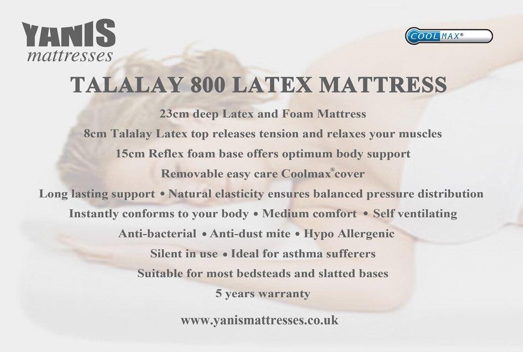 Yanis 800 colchón de látex Talalay en Varios tamaños, Tela, Blanco, Super King (180x200cm): Amazon.es: Hogar