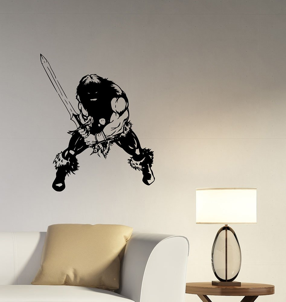 Conan The Barbarian Wall Decal Swordsman Gladiator Removable Vinyl Sticker Movie Hero Decorations for Home Room Bedroom Vintage Decor cnb1 DecalworldArt