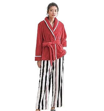 Pijamas de franela de invierno para mujer con manga larga Espesar ropa de cama de rayas