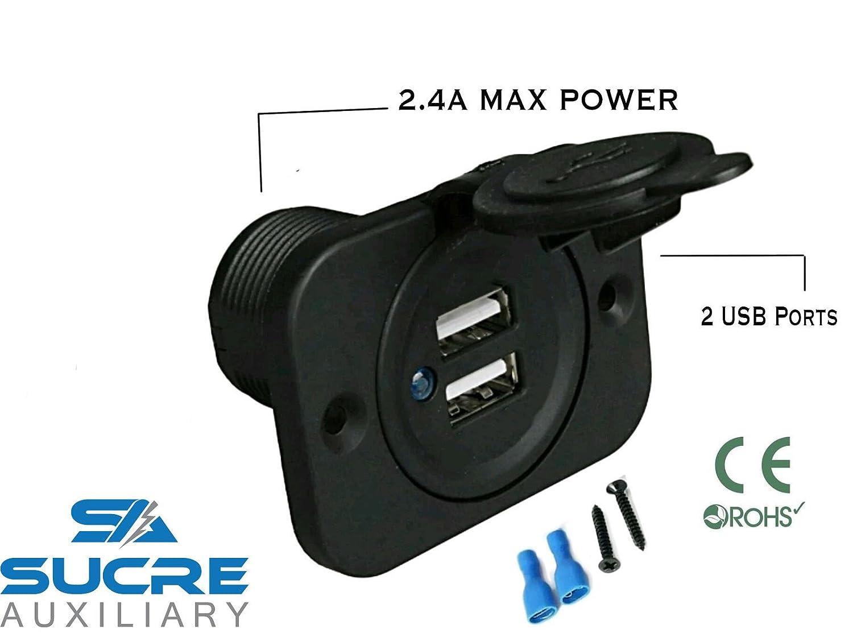 Prise allume-cigare double port USB haute puissance pour moto/bateau/voiture - 12 V/24 V - 2, 4 A Longhui Electronics