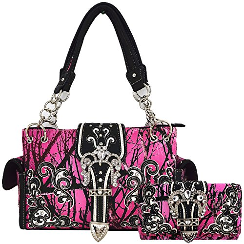 Camouflage Crown Buckle Western Style Concealed Carry Purse Country Handbag Women Shoulder Bag Wallet Set (Pink) ()