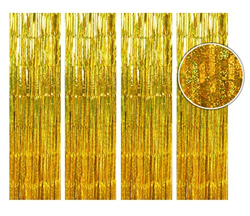 BTSD-home Holographic Gold Laser Foil Fringe Curtain, Metallic Photo Booth Tinsel Backdrop Door Curtains for Wedding Birthday Baby Shower Bachelorette Party Decorations(4 Pack, 12ft)